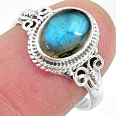 925 silver 3.10cts solitaire natural blue labradorite oval ring size 7.5 t11295