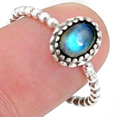 925 silver 1.46cts solitaire natural blue labradorite oval ring size 7.5 t34878