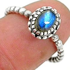 925 silver 1.42cts solitaire natural blue labradorite oval ring size 6.5 t6356