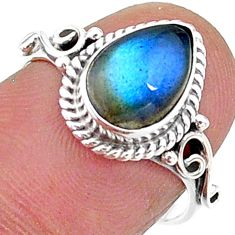 925 silver 2.72cts solitaire natural blue labradorite pear ring size 7 t15698