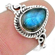 925 silver 2.61cts solitaire natural blue labradorite pear ring size 7 t15720