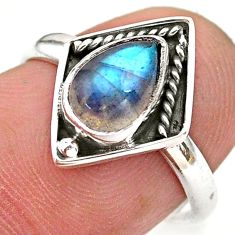 925 silver 2.45cts solitaire natural blue labradorite pear ring size 7 t28413