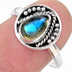 925 silver 2.42cts solitaire natural blue labradorite pear ring size 8 t28372