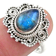 925 silver 2.54cts solitaire natural blue labradorite pear ring size 8.5 t46175