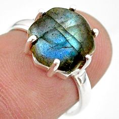 925 silver 5.03cts solitaire natural blue labradorite ring jewelry size 6 t43018