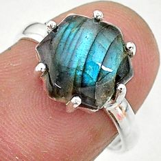 925 silver 5.11cts solitaire natural blue labradorite ring jewelry size 7 t11120