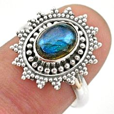 925 silver 2.09cts solitaire natural blue labradorite ring jewelry size 7 t43917