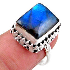 925 silver 5.30cts solitaire natural blue labradorite ring size 6.5 r51529