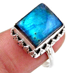 925 silver 5.01cts solitaire natural blue labradorite ring size 7.5 r51534