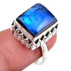 925 silver 4.82cts solitaire natural blue labradorite ring size 6.5 r51540