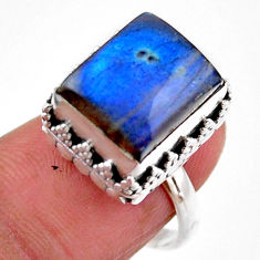 925 silver 4.82cts solitaire natural blue labradorite ring size 6.5 r51550