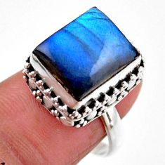 925 silver 5.12cts solitaire natural blue labradorite ring size 7.5 r51553