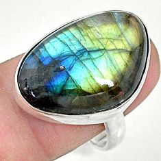 925 silver 15.85cts solitaire natural blue labradorite ring size 8.5 t10360