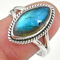 925 silver 7.00cts solitaire natural blue labradorite ring size 8.5 t11019