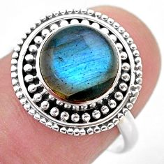 925 silver 4.16cts solitaire natural blue labradorite ring size 7.5 t46119