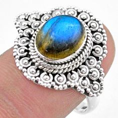 925 silver 4.35cts solitaire natural blue labradorite ring size 8.5 t46140