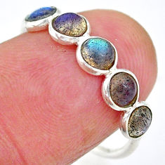 925 silver 1.51cts solitaire natural blue labradorite ring size 7.5 t7824