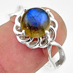 925 silver 3.50cts solitaire natural blue labradorite round ring size 7.5 r40676