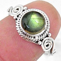 925 silver 2.30cts solitaire natural blue labradorite round ring size 6 t11277