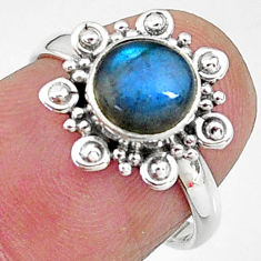 925 silver 2.40cts solitaire natural blue labradorite round ring size 6 t11290