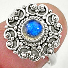 925 silver 0.76cts solitaire natural blue labradorite round ring size 6 t3652