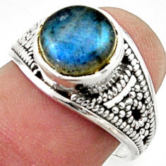 925 silver 5.11cts solitaire natural blue labradorite round ring size 7 r40716