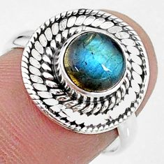 925 silver 2.41cts solitaire natural blue labradorite round ring size 7 t15740
