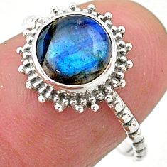 925 silver 2.51cts solitaire natural blue labradorite round ring size 7 t25298