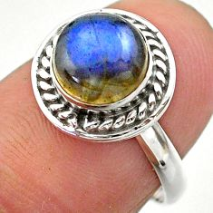 925 silver 2.56cts solitaire natural blue labradorite round ring size 7 t26277