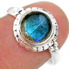 925 silver 3.05cts solitaire natural blue labradorite round ring size 7 t41296