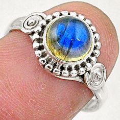 925 silver 2.30cts solitaire natural blue labradorite round ring size 7 t5053