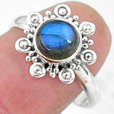 925 silver 2.43cts solitaire natural blue labradorite round ring size 8 t11280