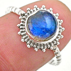 925 silver 2.46cts solitaire natural blue labradorite round ring size 8 t25294
