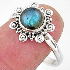 925 silver 2.56cts solitaire natural blue labradorite round ring size 9 t11320