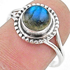 925 silver 2.42cts solitaire natural blue labradorite round ring size 9 t15652