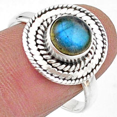 925 silver 2.41cts solitaire natural blue labradorite round ring size 9 t15718