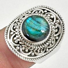925 silver 5.50cts solitaire natural blue labradorite round ring size 7.5 t10339
