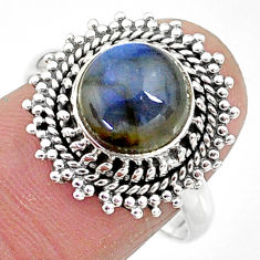 925 silver 4.70cts solitaire natural blue labradorite round ring size 8.5 t10579