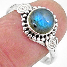 925 silver 2.78cts solitaire natural blue labradorite round ring size 8.5 t11284