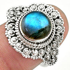 925 silver 4.98cts solitaire natural blue labradorite round ring size 7.5 t20138