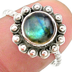 925 silver 2.60cts solitaire natural blue labradorite round ring size 7.5 t25352