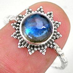 925 silver 2.98cts solitaire natural blue labradorite round ring size 8.5 t25378