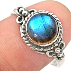 925 silver 2.71cts solitaire natural blue labradorite round ring size 8.5 t26119