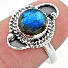 925 silver 2.75cts solitaire natural blue labradorite round ring size 7.5 t26156