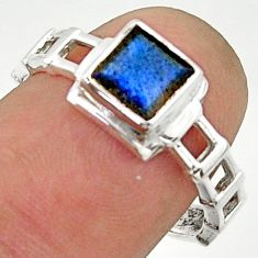 925 silver 1.30cts solitaire natural blue labradorite square ring size 7 r40620