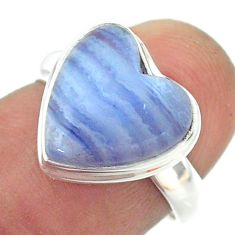925 silver 6.57cts solitaire natural blue lace agate heart ring size 6.5 t55105