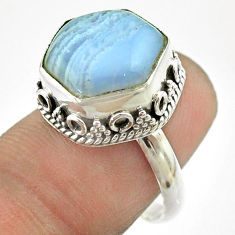 925 silver 6.83cts solitaire natural blue lace agate hexagon ring size 7 t55897