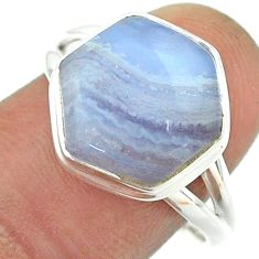 925 silver 6.36cts solitaire natural blue lace agate hexagon ring size 9 t55091