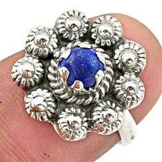 925 silver 0.82cts solitaire natural blue lapis lazuli flower ring size 6 t40716