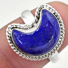 925 silver 6.36cts solitaire natural blue lapis lazuli moon ring size 7 t47664